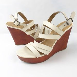Lucky Larinaa Faux Wood Wedge Sandal Size 8.5